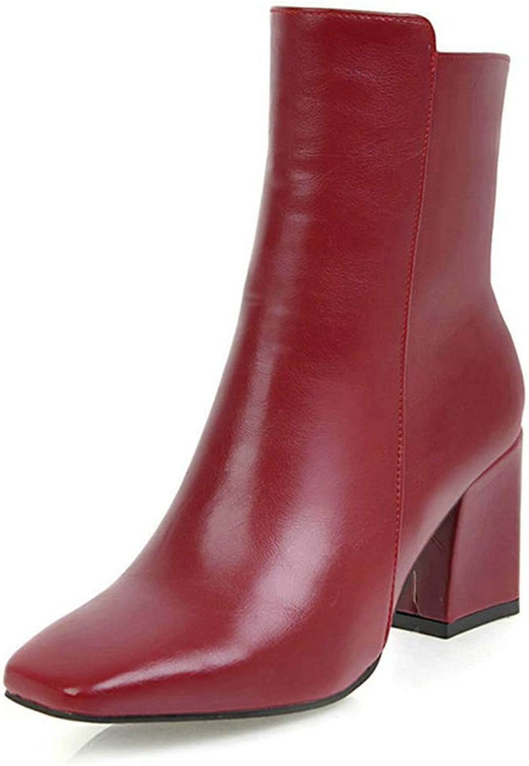 Kyle Walsh Pa Women Side Zipper Comfortable Square Heel Ankle Winter Black Red White Boots