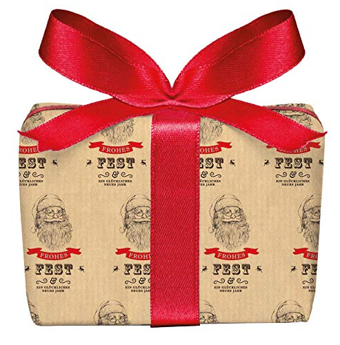 5er Set Weihnachts Geschenkpapier Bögen Weihnachtsmann Nikolaus im Vintage Packpapier Look zu Weihnachten, Adventszeit, Weihnachtspapier für Weihnachtsgeschenke Format 50 x 70 cm