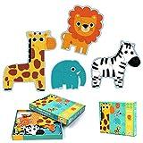Djeco DJ07135 - Juego de 4 Puzzles (3, 4, 5 y 6 Piezas)