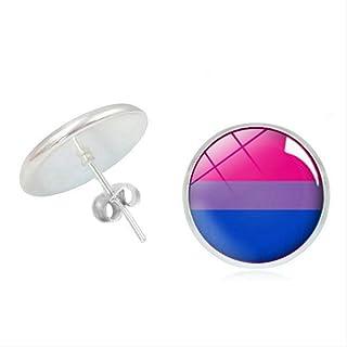 Accessori Gay Time Vetro Convesso Gay Pride Ragazza Orecchini Arcobaleno Ladies Ear Gioielli 1.2 Cm
