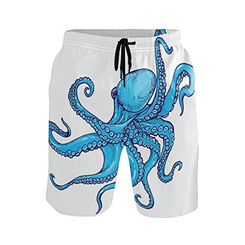 Blue Sea Octopus Badehose für Herren Boy Quick Dry Beach Shorts mit Taschen
