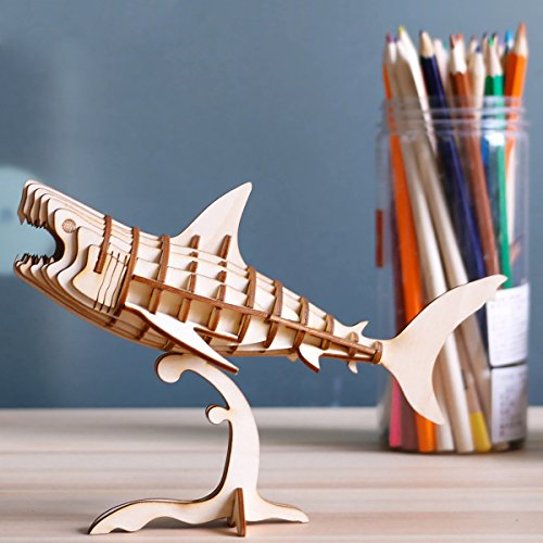 Product Image 2: Rolife Build Your Own 3D Wooden Assembly Puzzle Wood Craft Kit Shark Model
