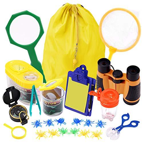 Satkago - Kit de explorador para niños, 25 piezas, kit de atrapaserras con contenedores de insectos, prismáticos, brújula, juguetes...