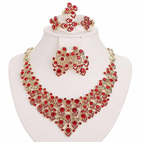 Moochi 18K Gold Plated Red Zircon Embedded Scarf Pattern Jewelry Set