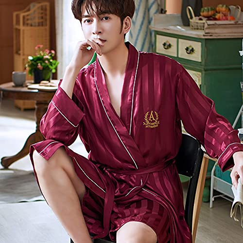 DEWUFAFA Camisón de satén para Hombre Ligero de Manga Larga Kimono de Seda de Seda con Shorts Set Pijama (Color : B, Size : XXX-Large)
