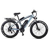 Bicicleta eléctrica de 1000 W, 26 x 4,0 pulgadas, neumáticos Fat para hombre (azul)