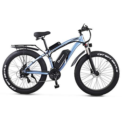 Shengmilo 26 pollici bici elettrica a grasso per pneumatici 48V 1000W motore neve bicicletta elettrica con batteria al litio Shimano 21 velocità bici elettrica pedale bicicletta elettrica (MX02S blu))