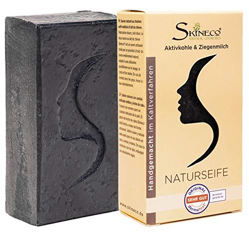 Skineco Naturseife | nachhaltige Ziegenmilchseife mit Aktivkohle | schwarze Seife | Stück Seife gegen fettige unreine Haut | Körperseife | handgemachte Naturkosmetik | Gesicht Reinigung | clear skin