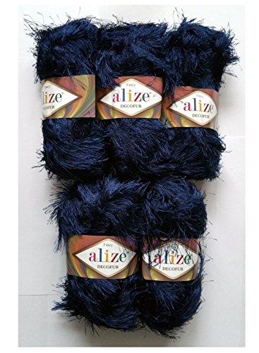 5 x 100 Gramm Alize Strickgarn mit Fransen dunkelblau Nr. 58, 500 Gramm Plüsch Fransengarn