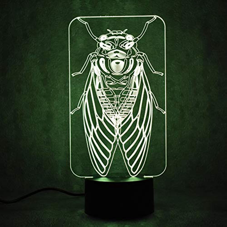 Wuqingren LED Visuelle 3D USB Kinder Geschenk Stimmungen ndern Touch Button Tischlampe Schlafzimmer Nacht Insekt Cicada Decor Schlaf Nachtlichter,Remote und berühren