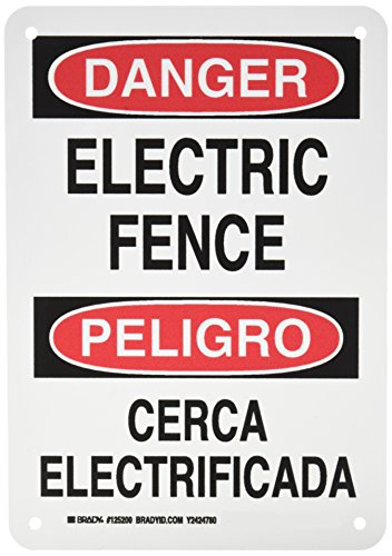 Brady 125200 Bilingual Sign, Legend 'Electric Fence/Cerca Electrificada', 10' Height, 7' Width, Black and Red on White