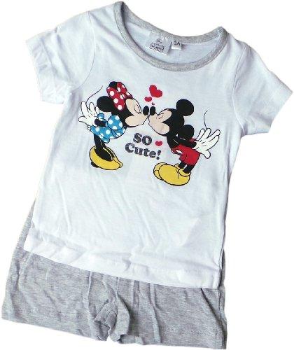 Disney Minnie Maus Zweiteiler / Schlafanzug / Shirt und Shorty - Micky und Minnie träumen zusammen - Weiß/Grau