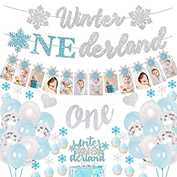 Blue and Silver 1st Birthday Decorations for Boys Frozen Themed Birthday Party Supplies with Snowflake Photo Banner Winter Onederland Banner Cake Topper Winter Onederland Birthday Decor