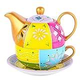 Artvigor Set 3 Pezzi Teiere Caffettiere Caraffe per tè e caffè con Tazzine da caffè e Piattini in Porcellana Ceramica Set da caffè tè per Una Persona Colori Misti Giallo
