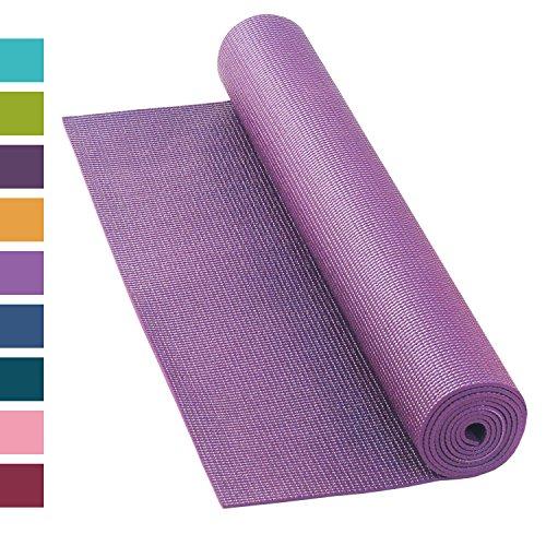 Yogamatte ASANA MAT, 183 x 60cm, 4mm PVC mit ÖKO-TEX 100, gute Yoga-Matte nicht nur für Anfänger, Sticky Mat, Gymnastikmatte, phtalatfrei, schadstofffrei (lila)