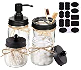 Eidoct Mason Jar <span class='highlight'>Bathroom</span> Accessories Set(4 Pcs)-Foaming Soap Dispenser &2 Cotton Swab Holder Set &Toothbrush Holder(Black)