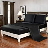 HollyHOME Silky Soft Luxury 4 Piece Deep Pocket Full Satin Sheet Set, Free Fitted Sheet Straps Included, Black