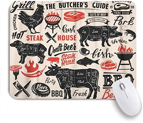 Mausmatte Mauspad schwarzes Rindfleisch Fleischsteak mit Schema Schriftzug geschnittenes Schwein Grill Grill Essen Schweinefleisch maßgeschneiderte Kunst Mauspad rutschfeste Gummibasis für Computer La