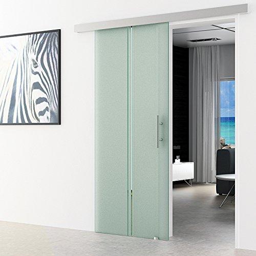 Schiebetür aus Glas 90x205 cm senkrecht gestreift Dorma Agile 50 System komplett EV1 Alu-Laufschiene und Edelstahl-Stangengriffe Schiebetür aus ESG Glastür sehr hochwertig
