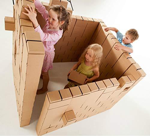 GIGI Bloks Bloques Gigantes de Cartón   Juegos Niños 200 Piezas XXL   Kits de Ladrillos Construcciones Infantiles de Castillos y Torres Grandes, Color Natural (G-9)