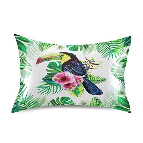 HaJie - Funda de almohada de satén con hojas tropicales de palma Toucan 100% poliéster, funda de almohada para cabello y piel, tamaño estándar 50,8 x 66 cm, 1 unidad
