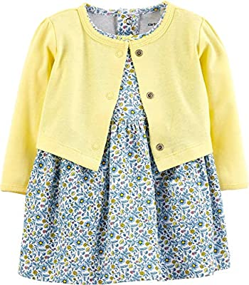 Carter's Baby Girls' 2-Piece Floral Bodysuit Dress & Cardigan Set (Nb, Blue/Yellow Floral)