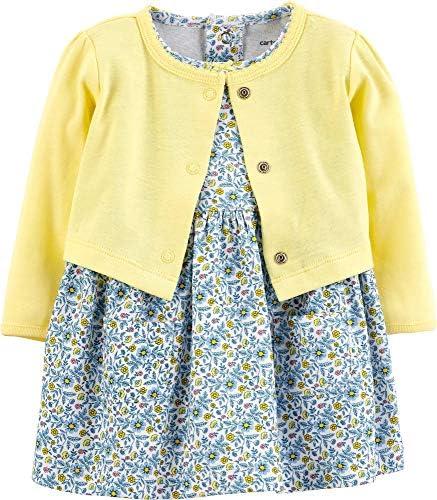 Carter s Baby Girls 2 Piece Floral Bodysuit Dress Cardigan Set Nb Blue Yellow Floral product image