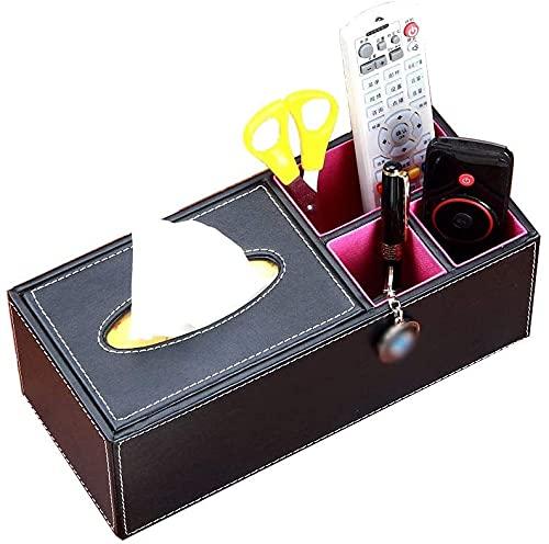 Caja de pañol de la Caja de Tejido Caja de Tejido de Pluma, Caja de Almacenamiento de Escritorio Multifuncional de Control Remoto, Soporte de servilleta de Tejido Facial, 28 × 12.5 × 10cm