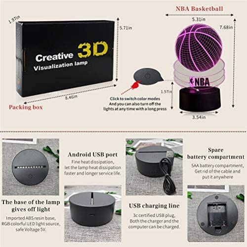 Basketball 3D Night Light for Boys,NBA Birthday Gift Lamp, Light Up Basketball Gifts 3D Illusion Lamp 7 Colors Changing Sport Fan Room Decoration Kids Room Idea