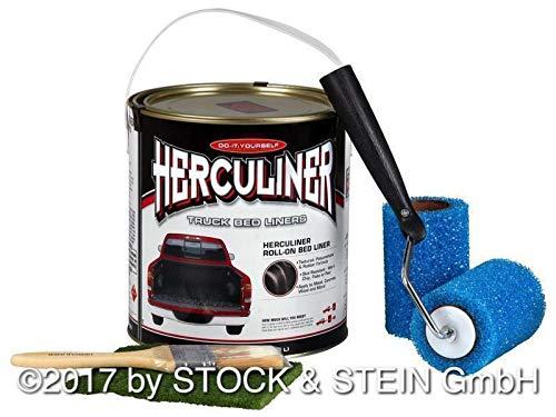 HERCULINER Beschichtungsfarben Kit in schwarz 3,78 Liter inkl. Aufkleber in schwarz