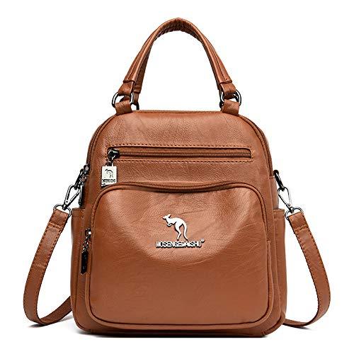 CMZ Backpack Multifunctional Female Bag, Single-Shoulder Mother Bag, Soft Leather Large-Capacity Backpack, Trendy Student Bag