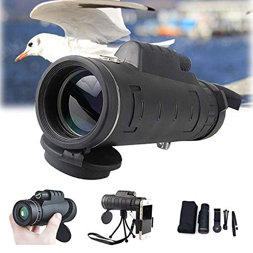 40x60 HD Telescopio Monocular,Impermeable y Antivaho Monoculares de Largo Alcance para Movil con Trípode y Adaptador para Smartphone para Observación de Aves Caza Conciertos Viaje