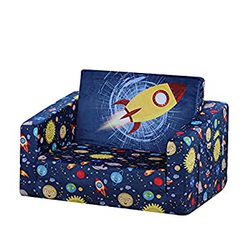 Kid Sofa Chair Children 2 in 1 Flip Open Foam Sofa Bed for Kid Nap and Play  Blue