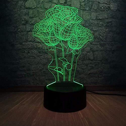 Lámpara De Ilusión 3D Luz De Noche Led Romántica Propuesta De Flor Rosa 7 Cambio De Color Novedad Lámpara De Mesa Decoración Para El Hogar Amante De La Cabecera Regalo Dulce