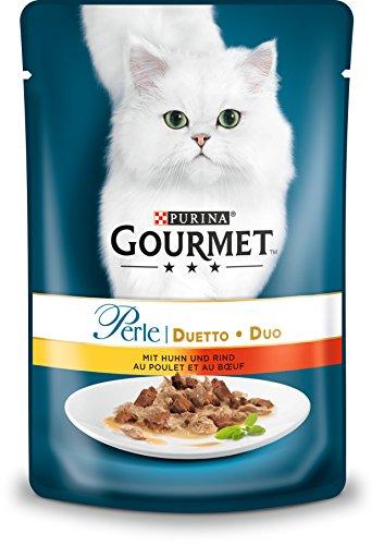 PURINA GOURMET Perle Duetto Katzenfutter nass, mit Huhn und Rind, 24er Pack (24 x 85g)