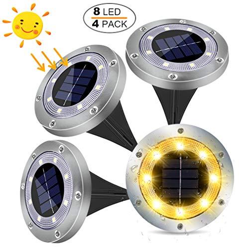 LED Luce Solari Giardino Esterno,MUZEY 4 Pezzi 8Led Lampada Solare da Giardino Faretti Terra Incasso 100LM Batteria Integrata IP65 Impermeabile Luci Gialla per Scala Paesaggio Strade Aiuola Vialetto