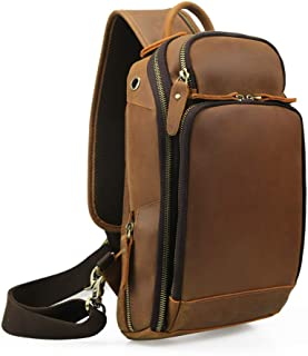 Lannsyne Vintage Genuine Leather Sling Chest Bag School Hiking Cycling Daypack For Men With USB Charging Port, Compatible with 10.5 inch iPad