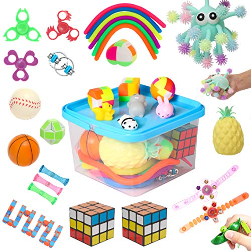 32 Pack Sensory Fidget Toys Set, Fidget Toys for Adults Anxiety Stress Relief Toys for Kids Autism ADHD Perfect for Stocking Stuffers, Pinata Goodie Filler, Parties, Class Room Prizes and Carnival