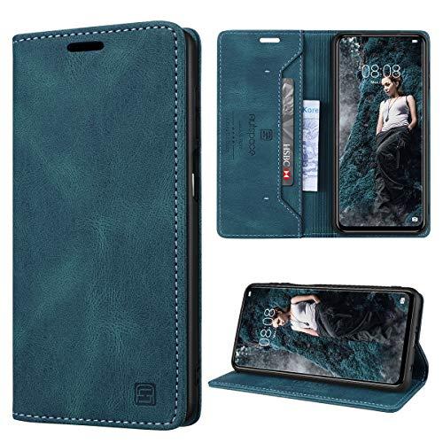 GANKER Handyhülle für Xiaomi Redmi Note 9 Pro Hülle, Redmi Note 9S Hülle Premium Leder [RFID Schutz] Flip Hülle Magnetisch Klapphülle Lederhülle Schutzhülle für Redmi Note 9 Pro/9S Hülle - Blaugrün