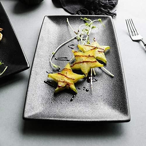 Black Plate_Matte Rechthoekige Schotel Servies Huishoudelijke Tray vlakke plaat fruitschaal hoge Sushi, zwart, klein bord 27.6cm * 16.5cm tafelgerei Servies 8bayfa
