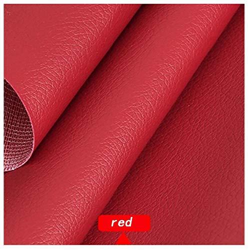 Color sólido La tela sintética de cuero sintético Litchi Grain Texture (1.38 × 1 m (4.5 pies × 3.3 pies)) es muy adecuada para hacer un bolso de bricolaje (color: rojo) (Color : Red)