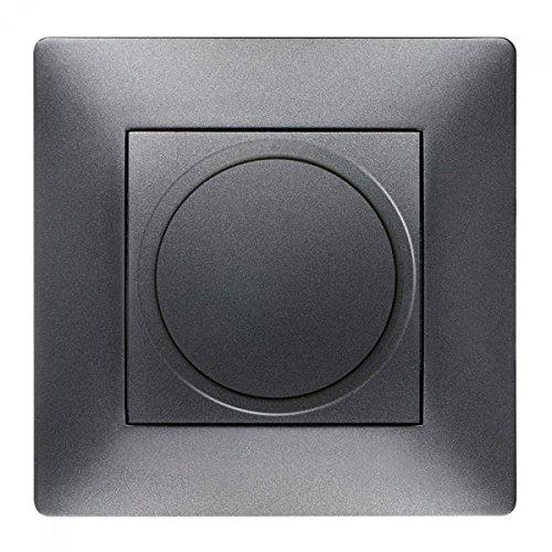 Toma de corriente Schuko Interruptor pulsador interruptor de luz Interruptor Volante Antracita Uso + Marco + Protectora