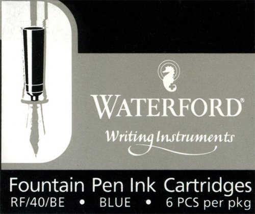Waterford Blue Fountain Pen Ink Cartridges - Pack of Six