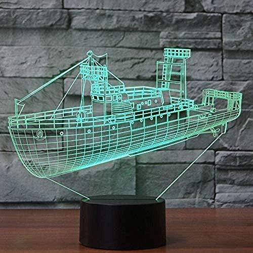 3D Visual Cool Cargo Ship Luz LED de noche 7 colores Cambio acrílico Lámpara de mesa Barco USB Iluminación del sueño Regalos para niños Decoración del hogar-16 colors remote