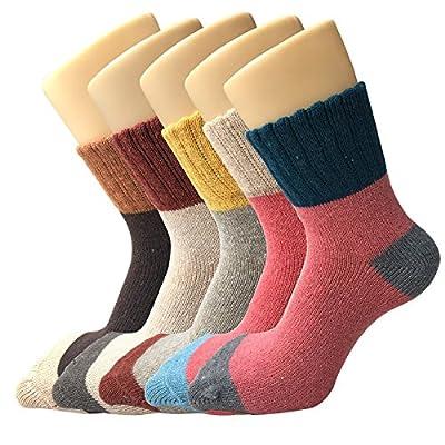 YSense Women's Thick Knit Warm Casual Wool Crew Winter Socks, 5 Piece, Size 22-24