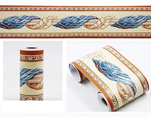 Borde del papel pintado Paño azul Auto Adhesivo del Papel Pintado del PVC Cenefa autoadhesiva para decoración de pared de cocina, baño 10cm X 900cm