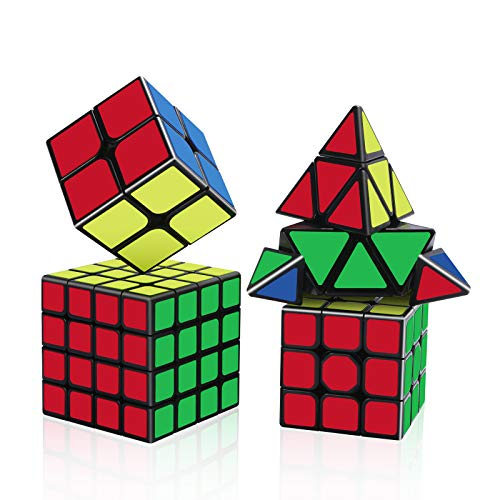 Vdealen Magic Cube - Pyramid 2X2 3X3 4X4 3X3 Cube,Educational Puzzle Cube for Children,IQ Toys are for Everyone - Black [4Pack]