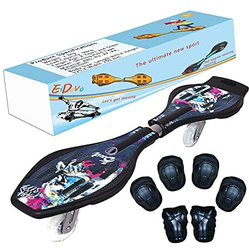 EiDevo Waveboard, Double Wheel Scooter Caster Board mit LED-Aurora Leuchtet Wave Board Geburtstagsgeschenk Anti-Rutsch-Schlangenbrett Geeignet für Kinder und Jugendliche Anfänger Skateboard