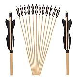 SHARROW Tiro con Arco Flechas y saetas, 31' Flecha de Madera Arcos y Flechas para Caza o práctica,...
