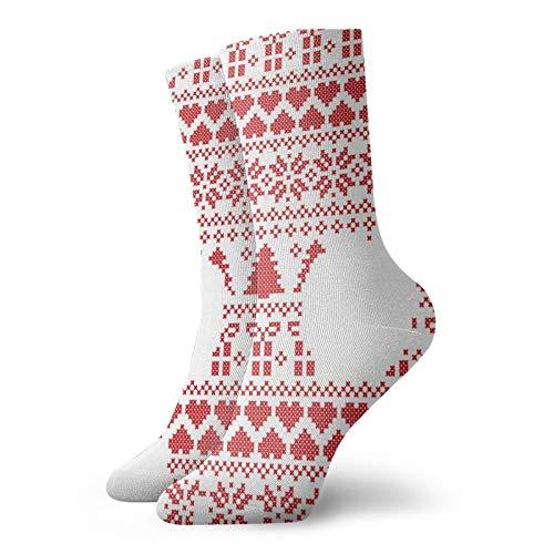 Osmykqe Scandinavian Norwegian Style Winter Stitching Knitting Comfortable Soft Thight Crew Socks Cool Fun Sock